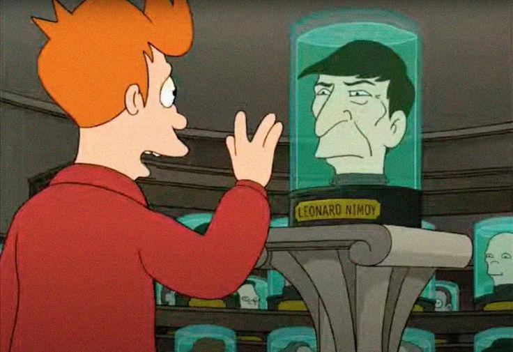 Персонаж Леонарда Нимоя в пилотном выпуске мультсериала «Футурама», 1999 год