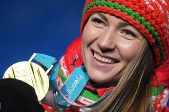 Дарья Домрачева на получении олимпийской награды