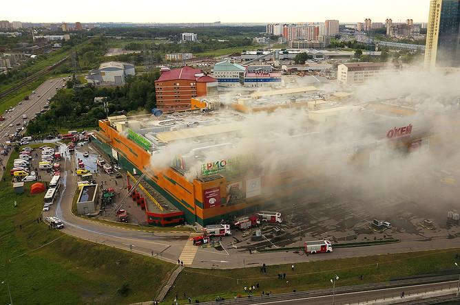 Во время пожара в торговом центре «РИО» на Дмитровском шоссе