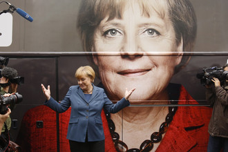 Канцлер Германии Ангела Меркель в ходе предвыборной кампании в 2013 году