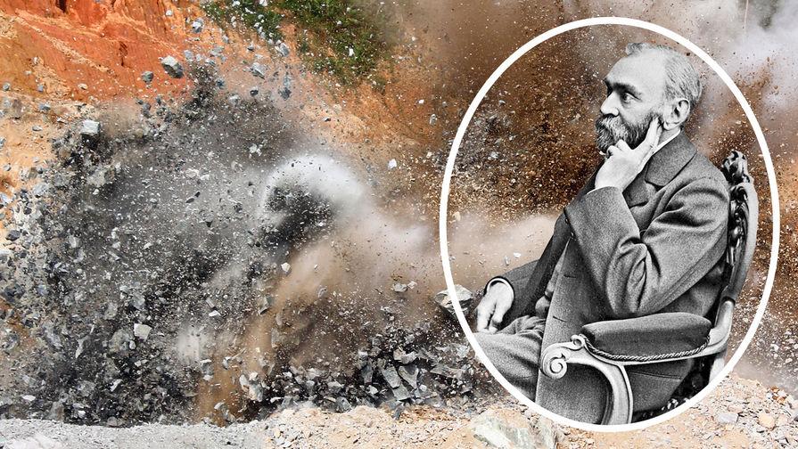 Альфред Нобель на фоне взрыва динамита, коллаж Газеты.Ru