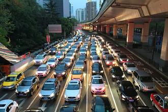 Пробка в Шанхае, апрель 2017 года