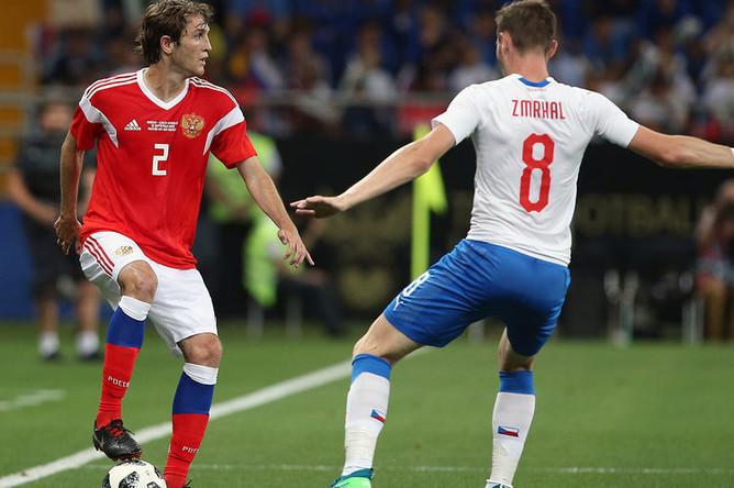 Во время товарищеского матча по футболу между сборными России и Чехии, 10 сентября 2018 года