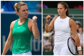 Теннисистки Симона Халеп (слева) и Дарья Касаткина