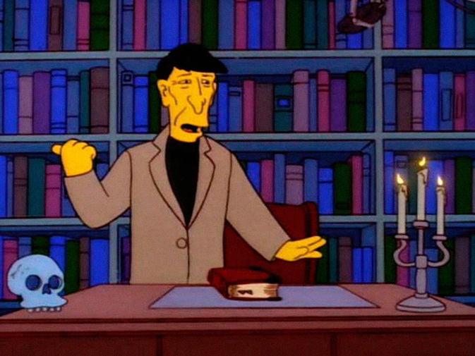 Персонаж Леонарда Нимоя в эпизоде «The Springfield Files» восьмого сезона мультсериала «Симпсоны», 1997 год