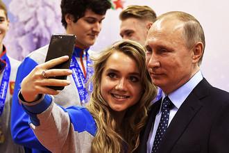 Владимир Путин во время встречи с победителями XXVIII Всемирной зимней универсиады 2017 года в Красноярске, 1 марта 2017 года