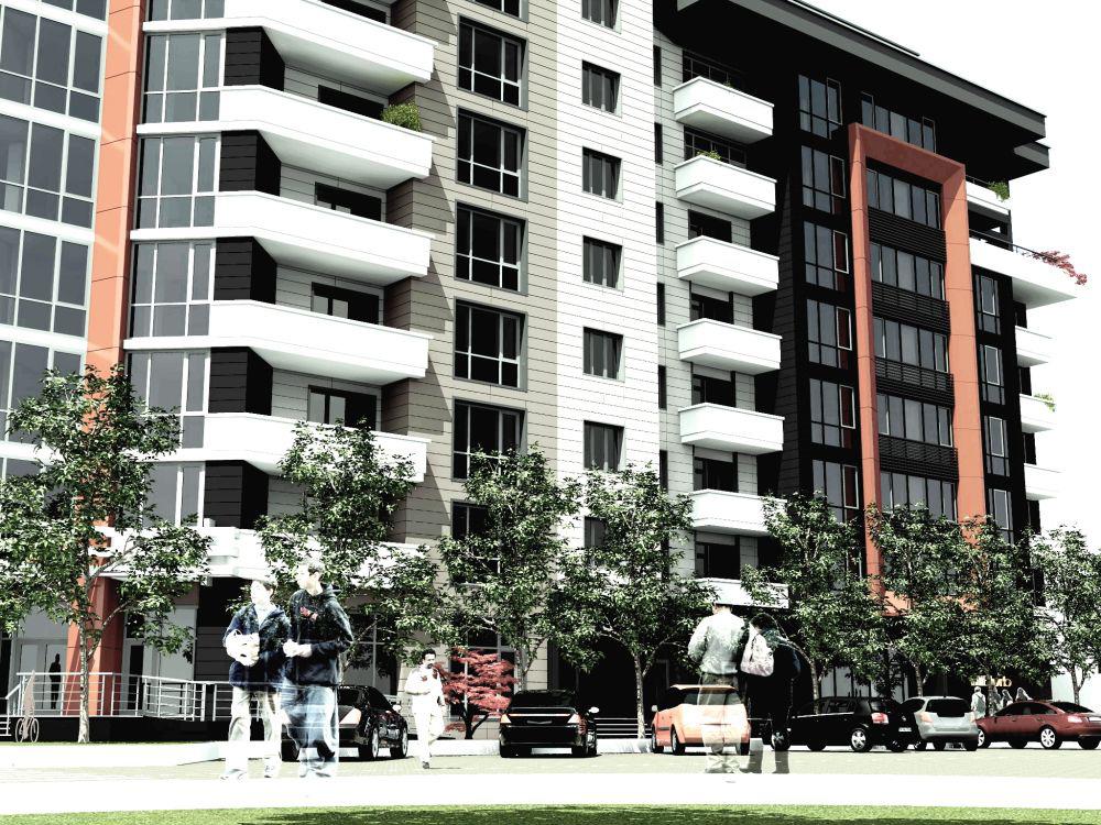 Площадь квартир в этом восьмиэтажном доме соответствует нормам жилья эконом класса. Фасад выполнен в современном стиле