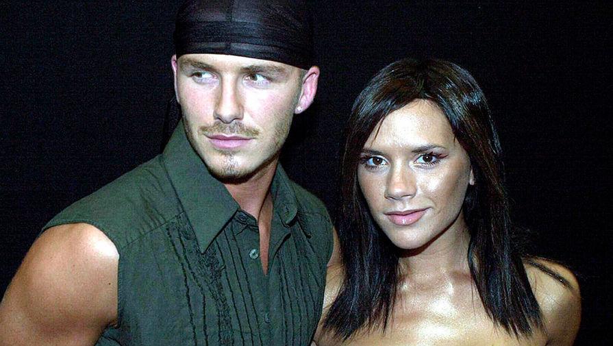 Футболист Дэвид Бекхэм с супругой поп-звездой Викторией Бекхэм, 2000 год