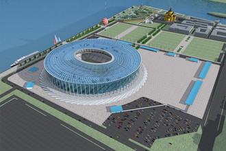 <b>«Нижний Новгород»</b>, строится, должен быть готов к 2017 году. Стоимость постройки &mdash; 17,021 млрд руб. Вместимость во время ЧМ составит почти 45 тыс. человек, после &mdash; 25 тыс. человек. Станет домашним стадионом ФК «Волга»