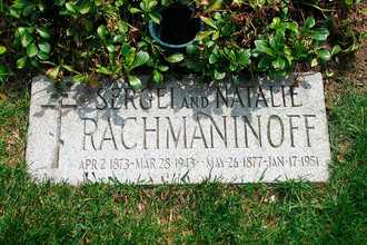Могила Сергея Рахманинова на кладбище Кенсико, США
