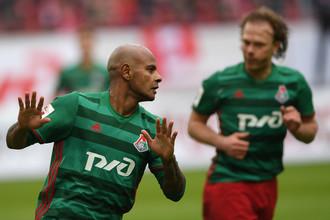 Нападающий «Локомотива» Ари празднует гол в ворота «Спартака»