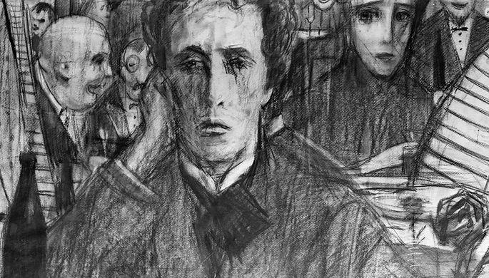 Репродукция рисунка пастелью художника Ильи Глазунова «Александр Блок»