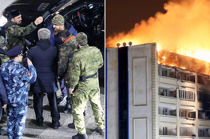 Глава Чечни Рамзан Кадыров (в центре на дальнем плане) у жилого дома в Грозном, где произошел пожар, 26 марта 2018 года (коллаж)
