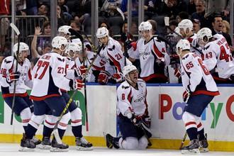 Овечкин празднует 499-ю шайбу в НХЛ