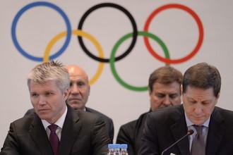 Министр спорта России Павел Колобков и президент Олимпийского комитета России (ОКР) Александр Жуков