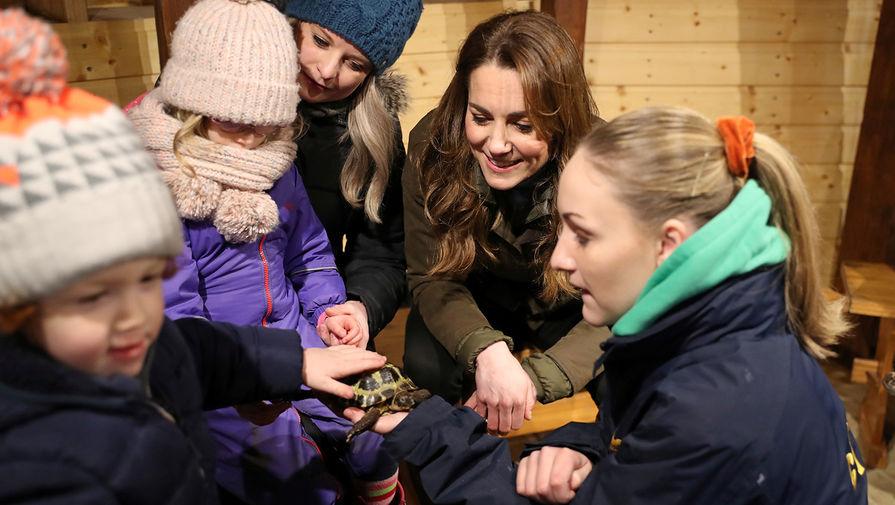 Герцогиня Кембриджская Кейт Миддлтон во время визита на ферму Арк-Оупен в Ньютаунардс в Северной Ирландии, 12 февраля 2020 года