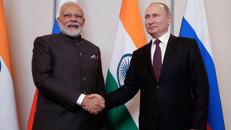 Президент России Владимир Путин и премьер-министр Индии Нарендра Моди, 2019 год