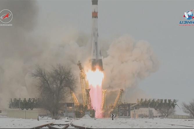 Кадр из трансляции запуска ракеты «Союз-2.1а» с кораблем «Прогресс МС-08» с космодрома Байконур, 13 февраля 2018 года