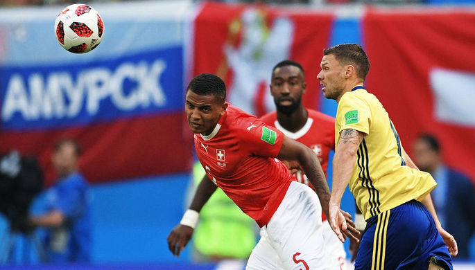 Во время матча 1/8 финала чемпионата мира по футболу между сборными Швеции и Швейцарии, 3 июля 2018 года