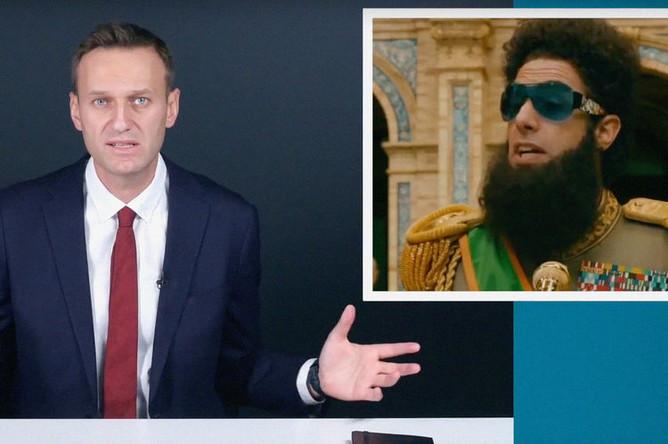 Алексей Навальный и скриншот из фильма с Сашей Бароном Коэном «Диктатор» (2012) в видеообращении к главе Росгвардии Виктору Золотову, 18 октября 2018 года